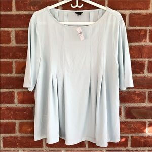 NWT Ann Taylor light blue pleated short sleeve top